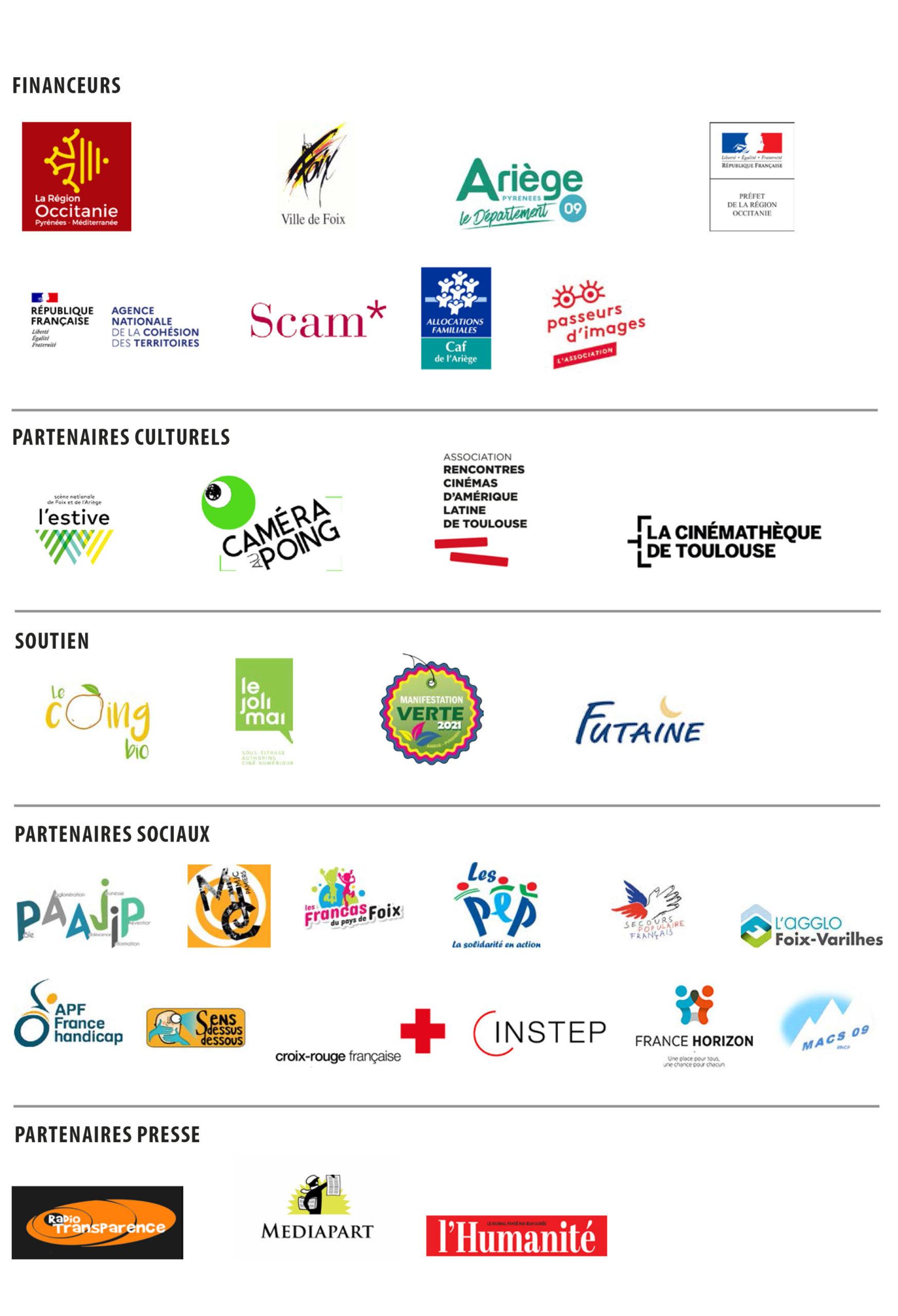 partenaires Festival Résistances fesitval militant films 2021 25e édition Foix Ariège Cinéma Films